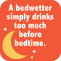 A bed wetter simply drinks too much before bedtime.
